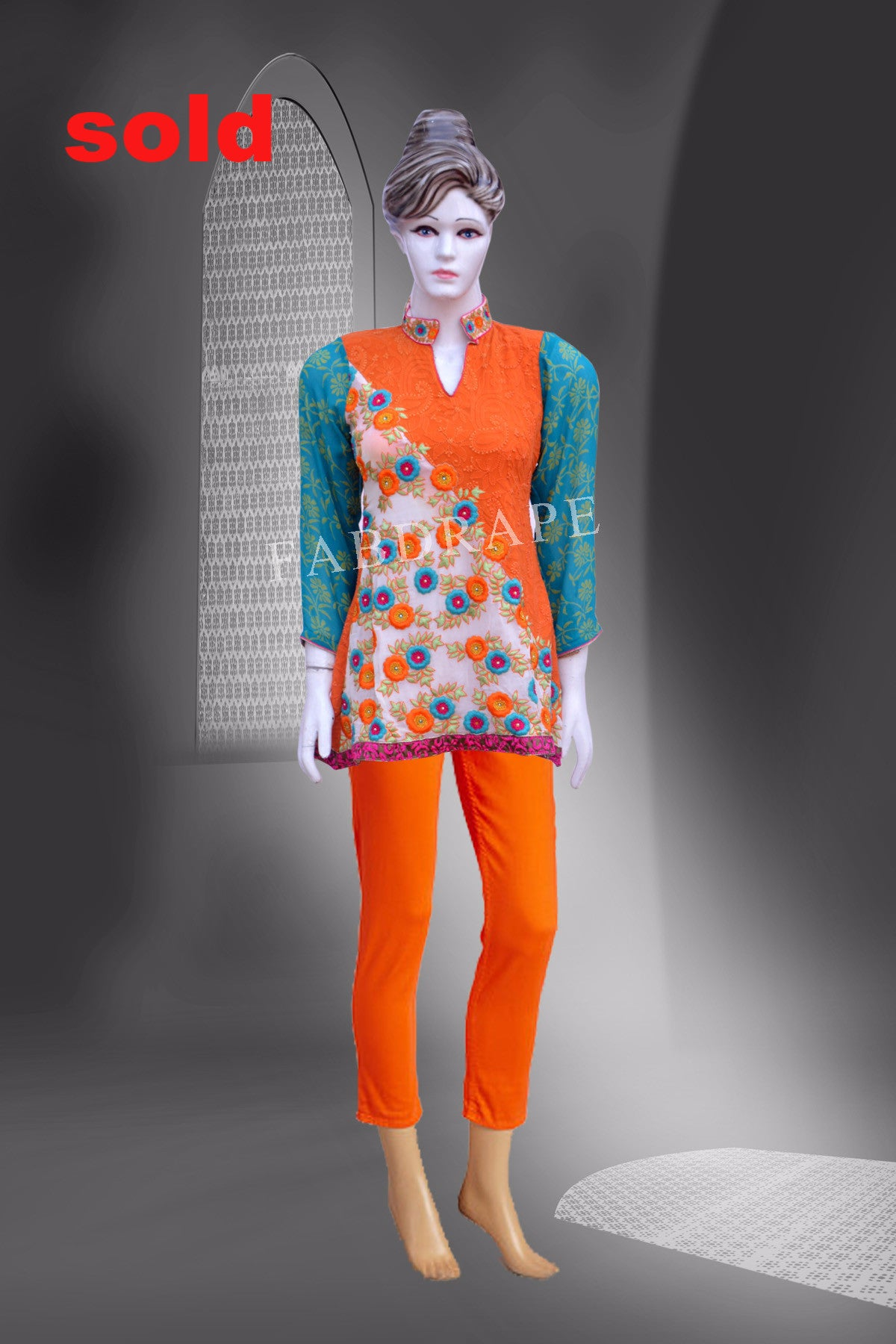 Orange Chikankari embroidered short kurti on pure Georgette #FDSKH0010_001