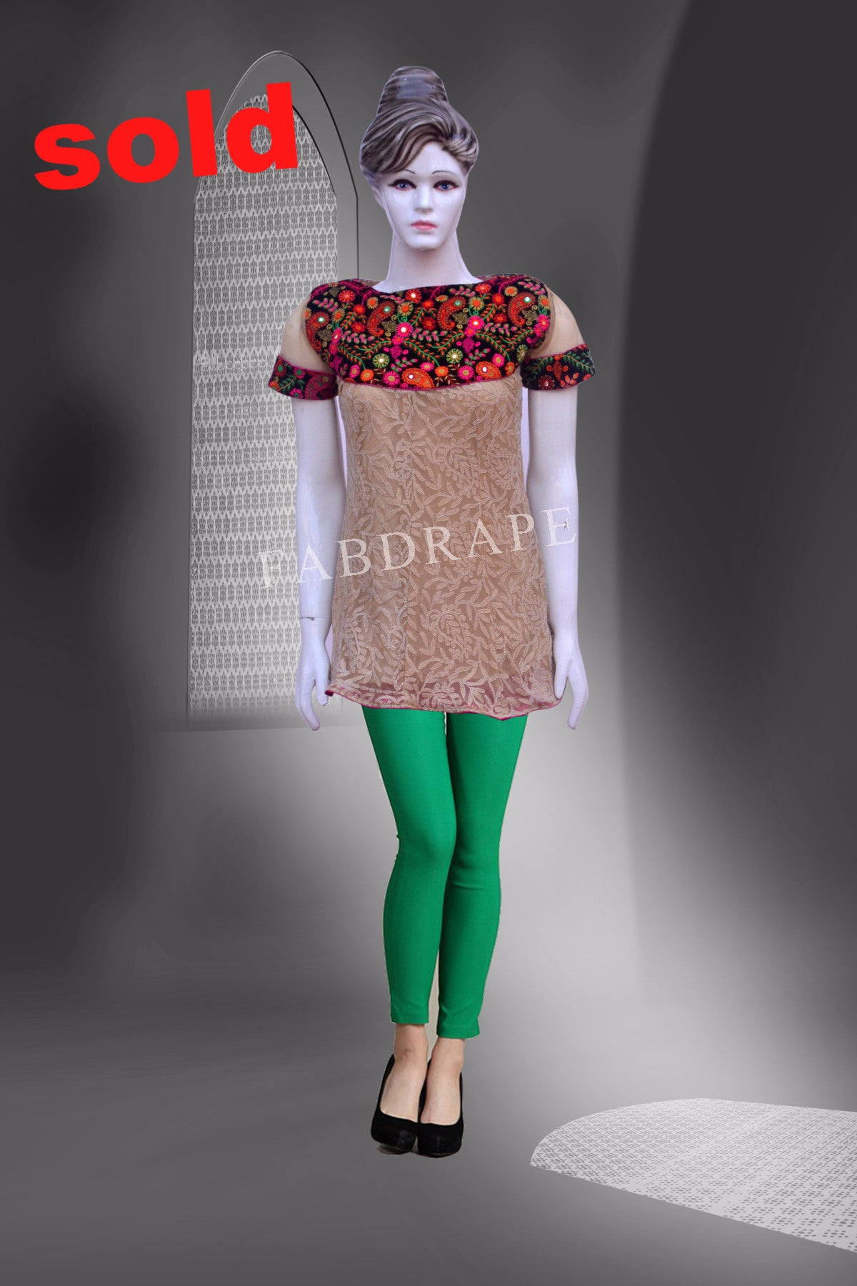 Biege color chickankari short kurti with embroidered patch #FDNSKH9002_001