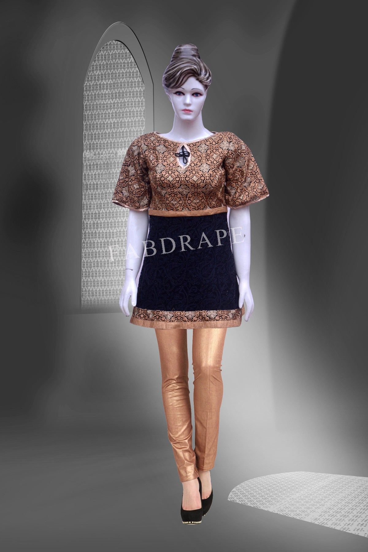 Black and golden color chickankari work embroidered short kurti #FDSKH0007_001