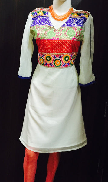 White Kurta With Embroidered Front Patch #Fdn0040