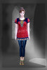 dark pink chickankari work embroidered short kurti #FDSKH0065_001