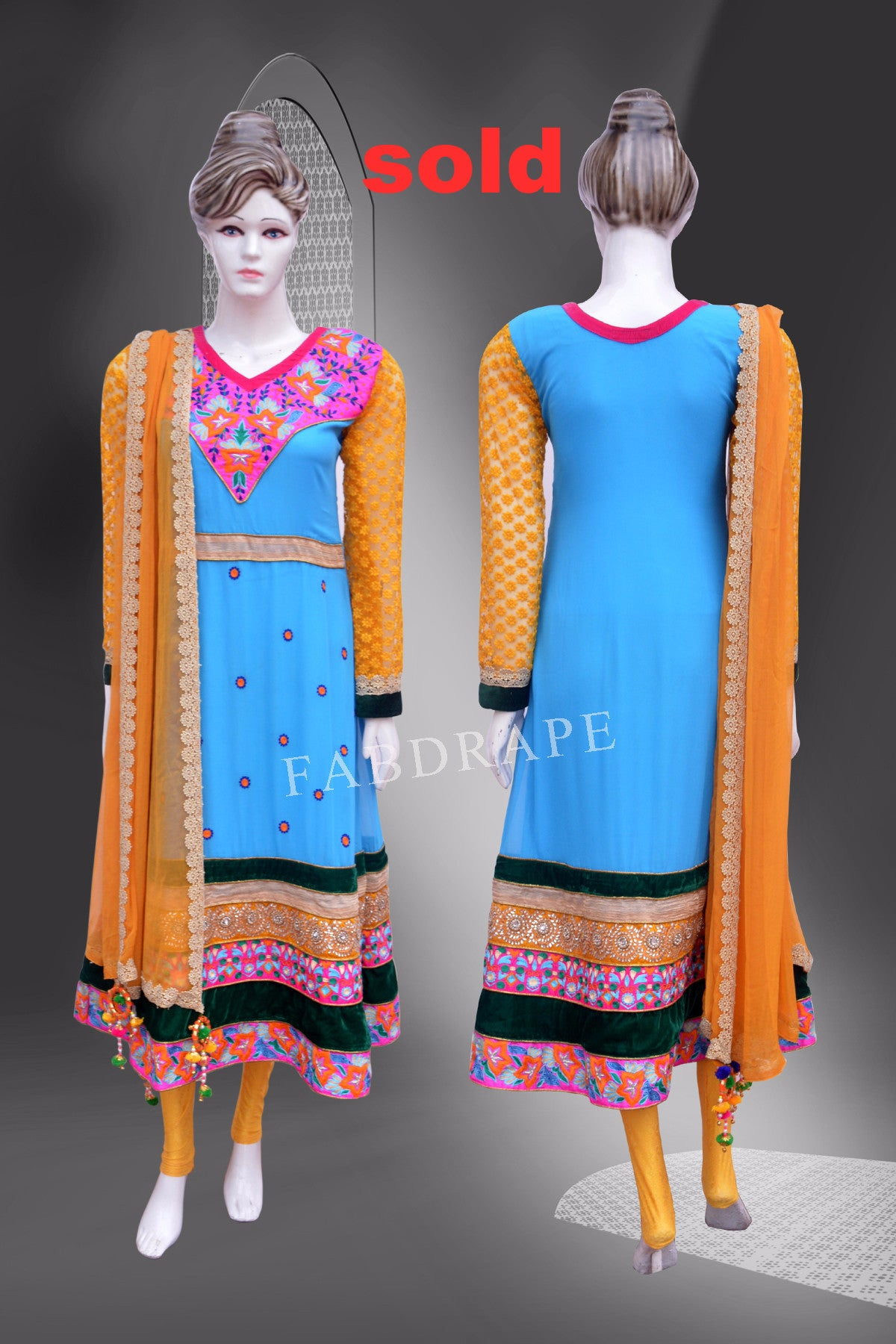 Turquoise Blue and Yellow  embroidered suit #FDSKH0039_001