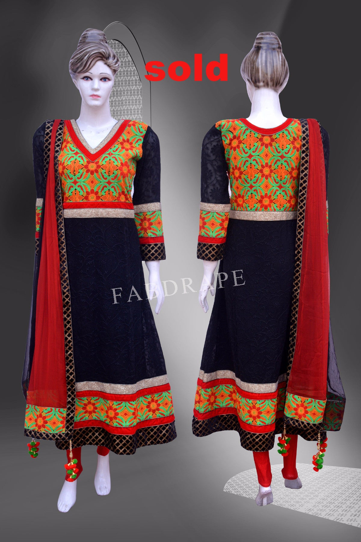 Black chickankari embroidered Suit #FDSKH0054_001