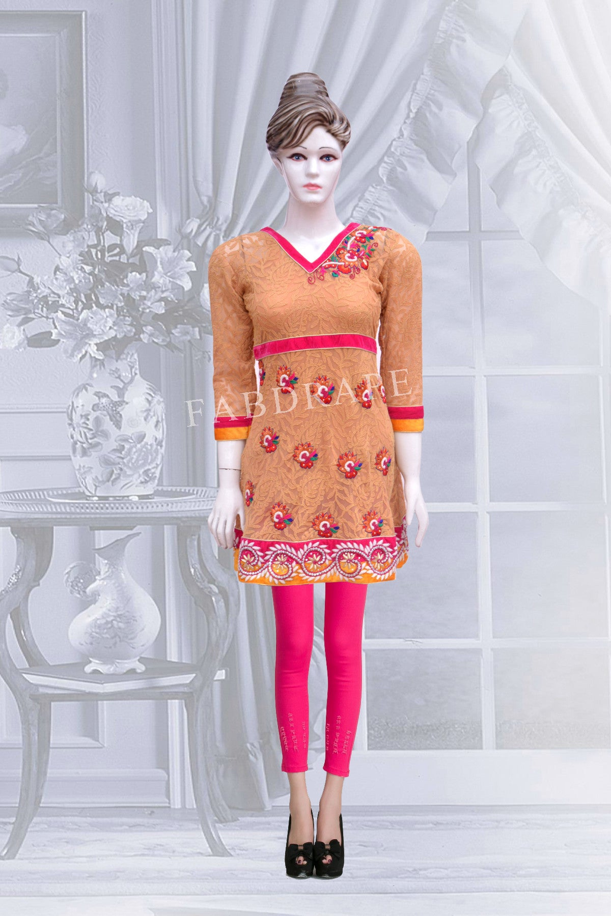 Beige color chickankari work  embroidered short kurti #FDSKH0004_001