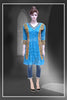 Neon blue color chickankari work embroidered long kurti #FDSKH0006_001