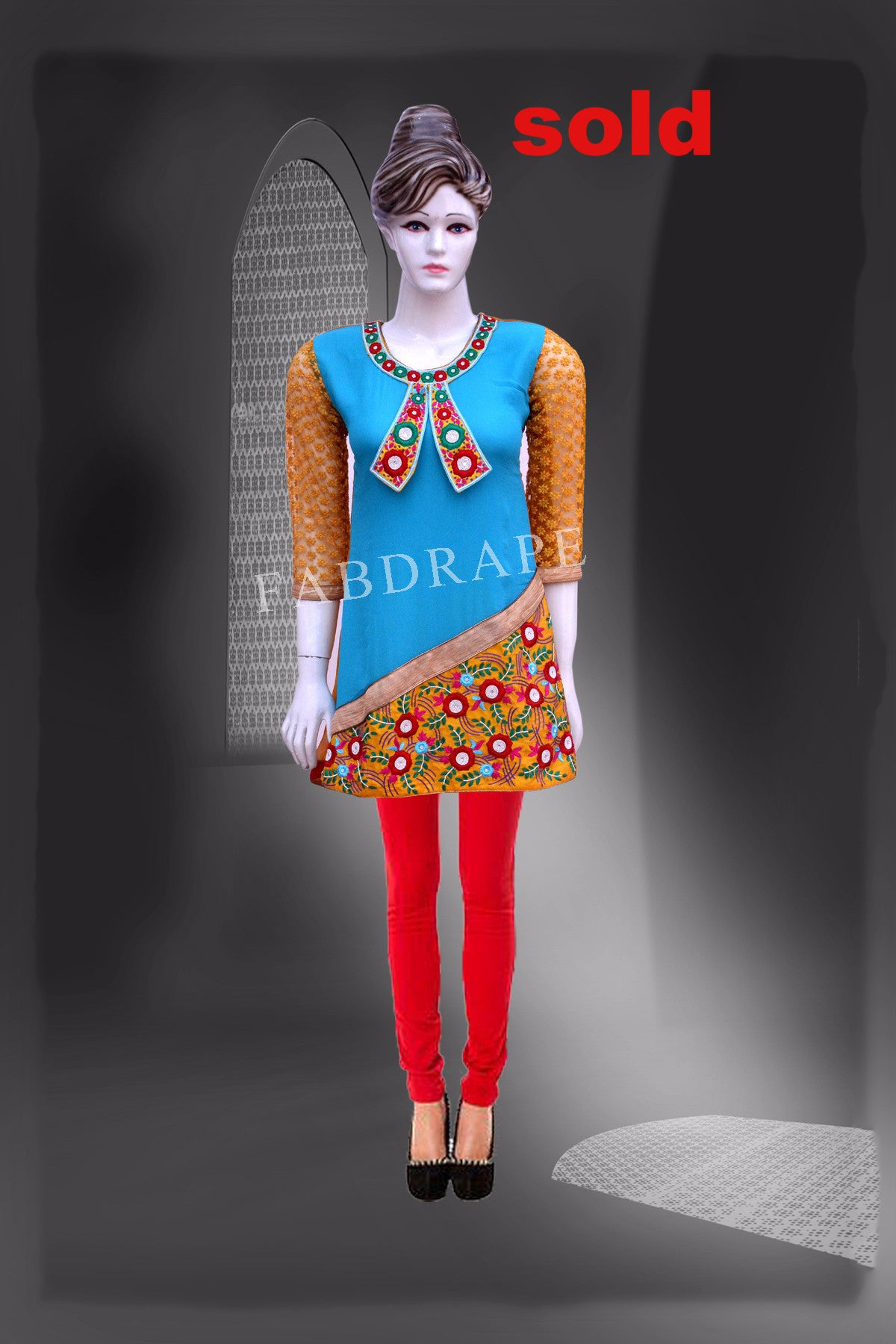 Turquoise and mustard color embroidered  long kurti #FDSKH0043_001