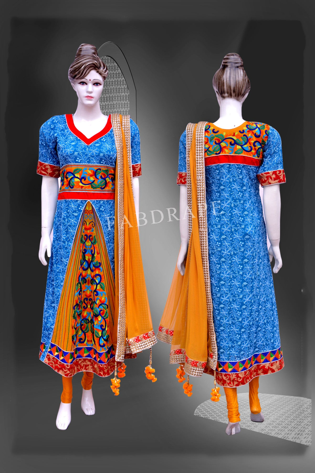 Medium blue and mustard Yellow chikankari work #FDSKH0046_001
