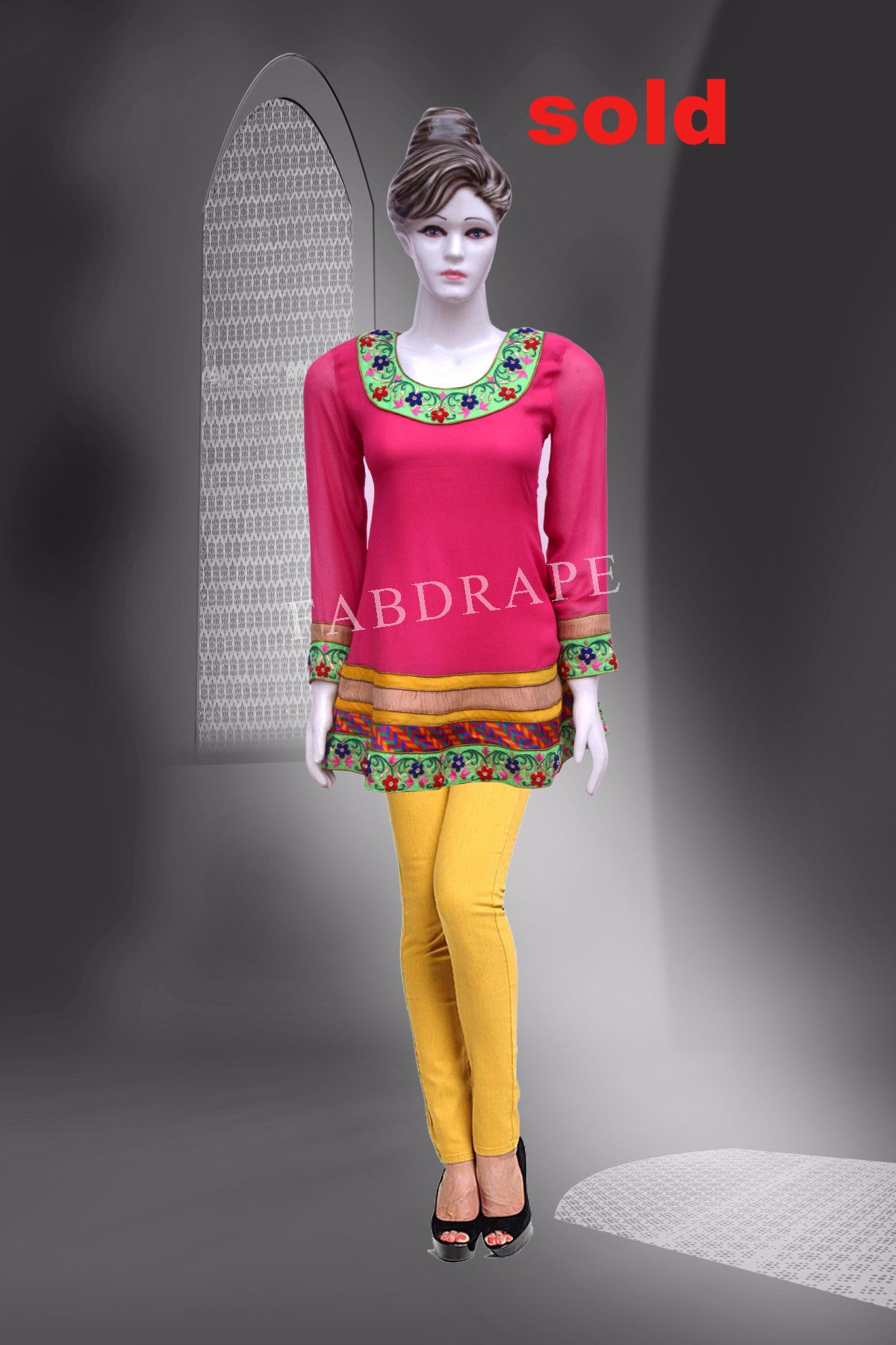 Pink Georgette with multi-patches kurti #FDSKH0036_001
