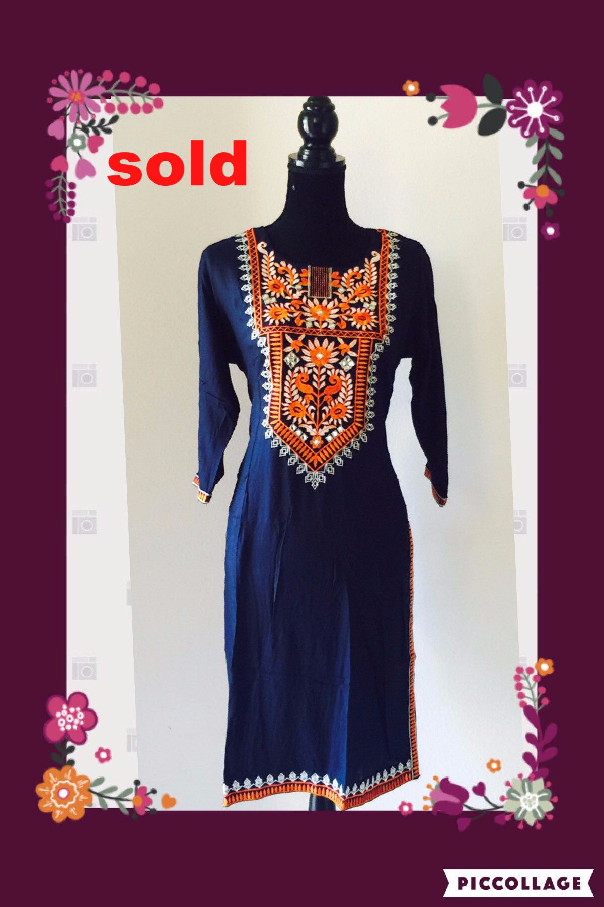 BLUE EMBROIDERED KURTA # FDN0021
