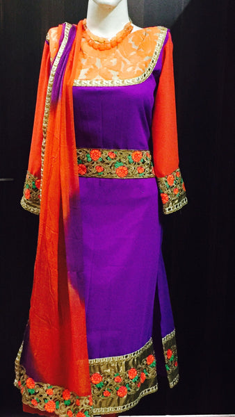 Purple and orange embroidered suit #Fdn0034