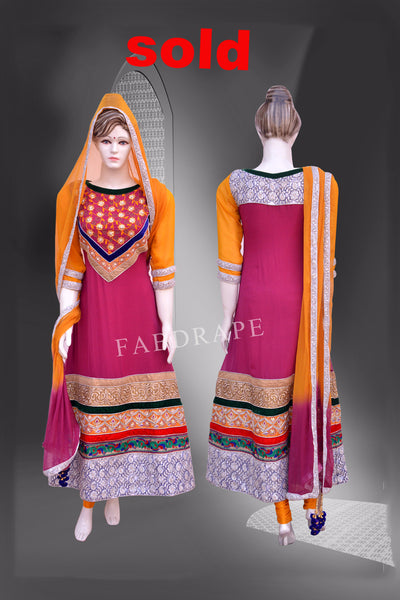Fushia color Georgette Embroidered Suit #FDSKH0015_001