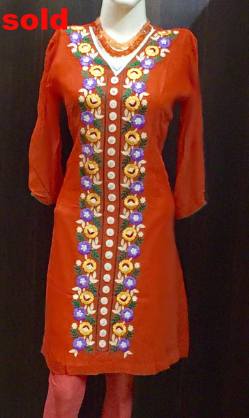 Orange color embroidered kurta # Fdn0038