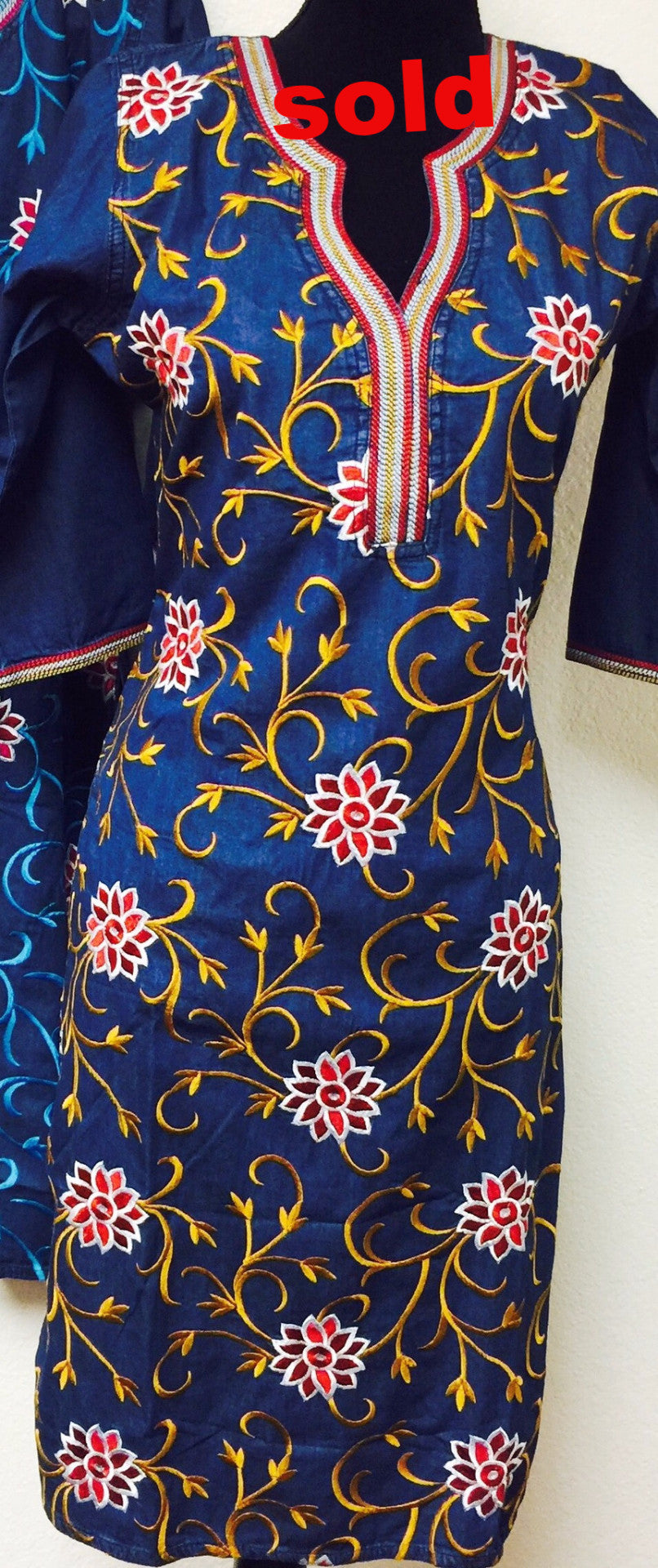 # Fdn0126A DENIM EMBROIDERED KURTA
