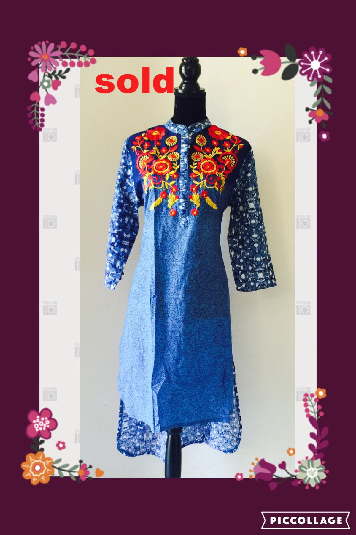 PRINTED BLUE KURTA WITH COLORFUL EMBROIDERY #FDN0023