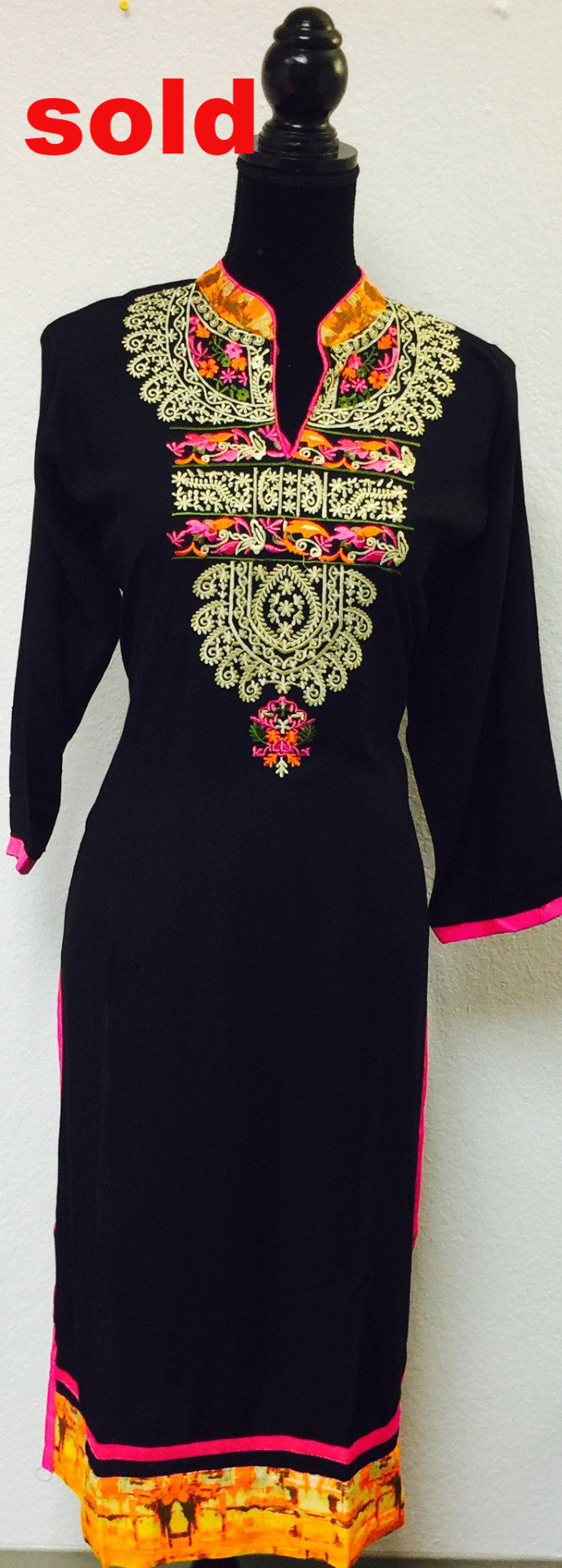 Black embroidered kurta # Fdn0118