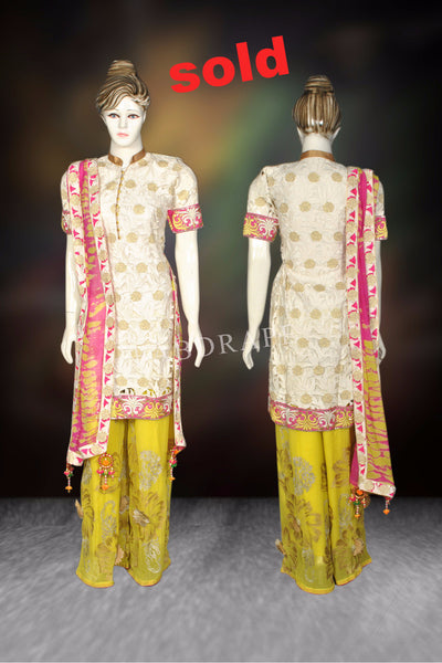 yellow /white sharara georgette dressFDNSKH9007_001