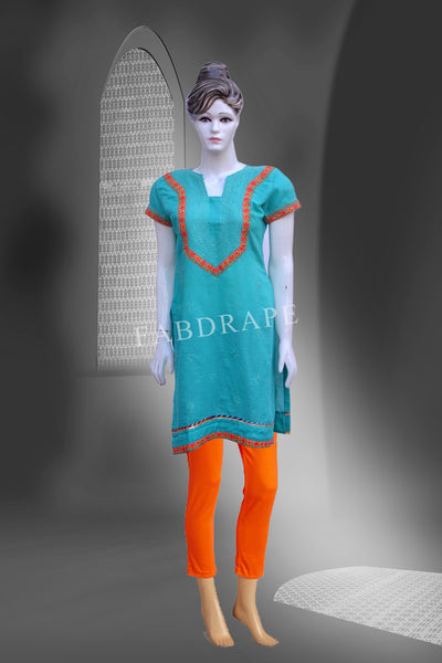 dark sea green cotton chikankari kurti#FDCKRT10005_001
