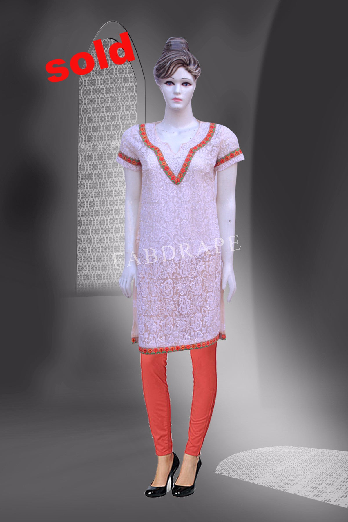 Light peach chikankari cotton kurti #FDCKRT10012_001