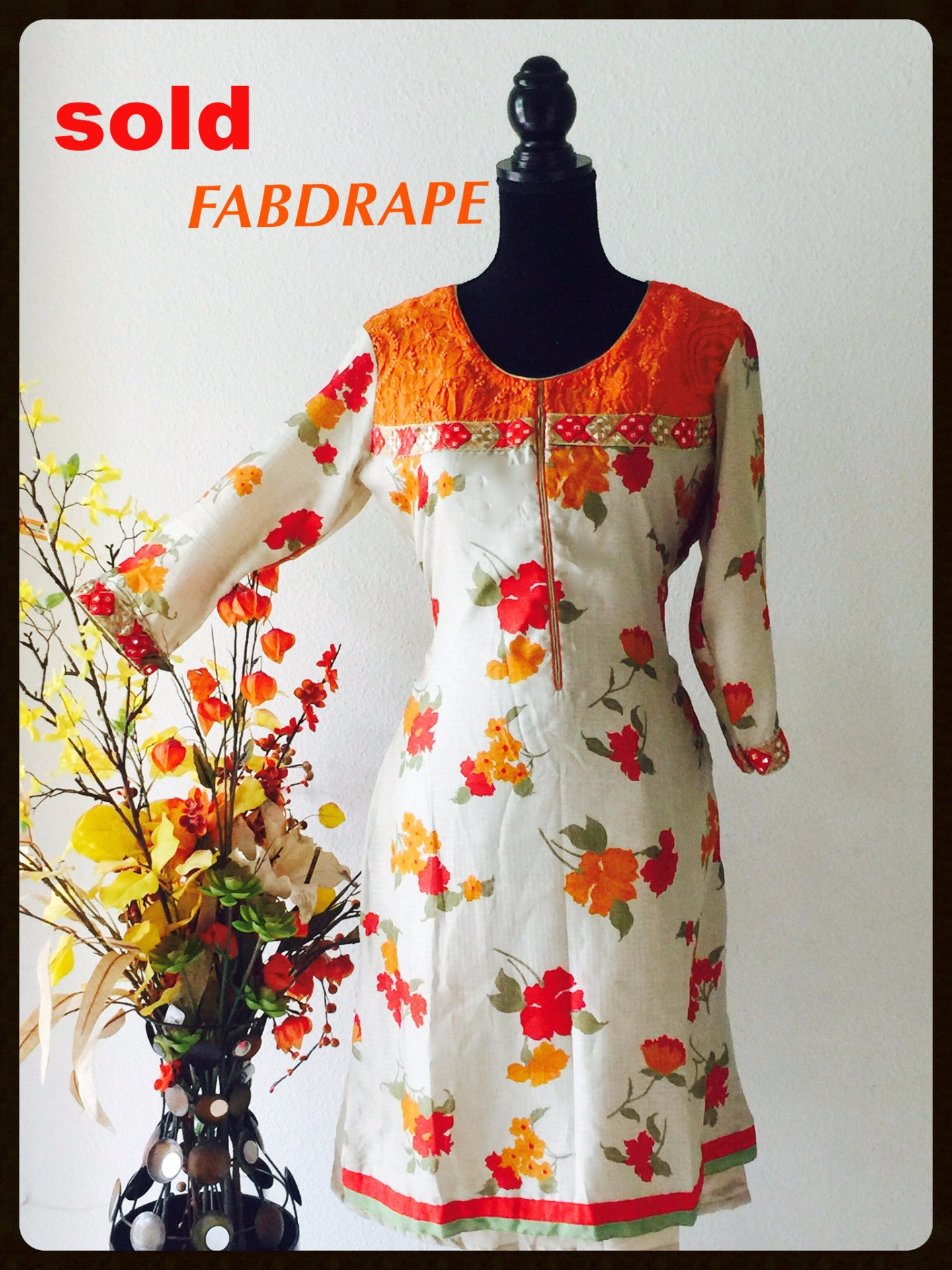 cotton kurti in orange print .#FDSKHPr 018