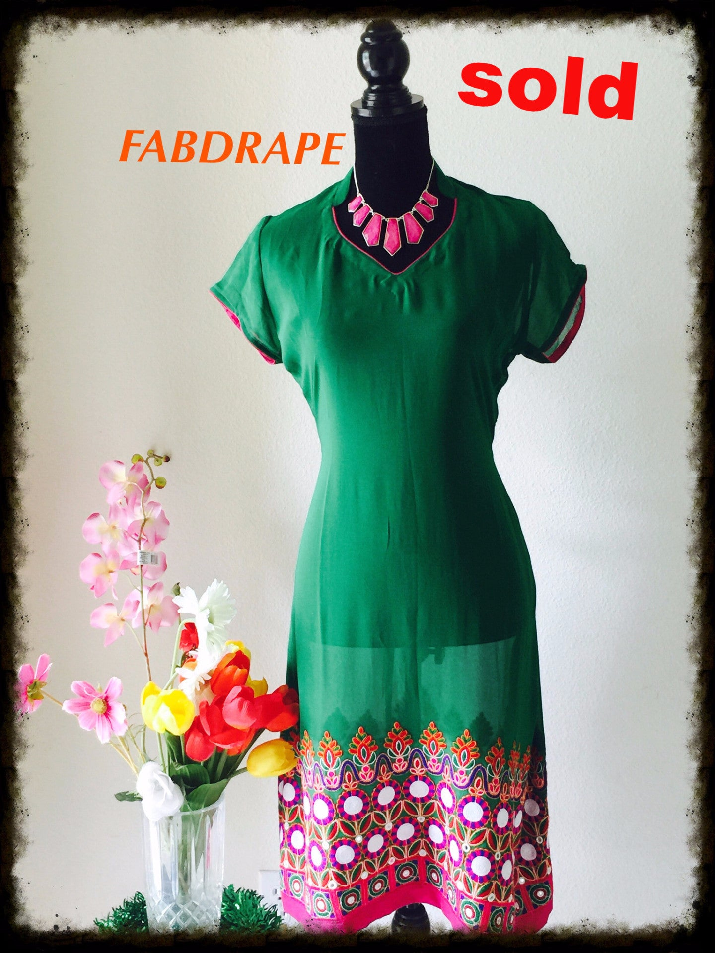 Georgette kurti in green with embroidered pannal #FDSKHPr 015