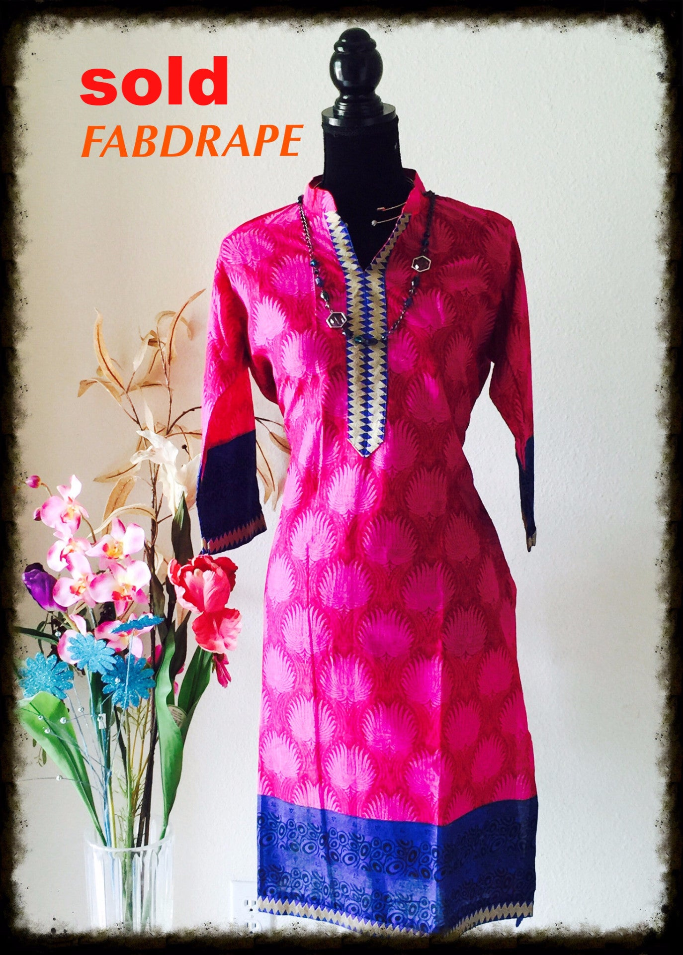cotton kurti in pink and blue #FDSKHPr 017