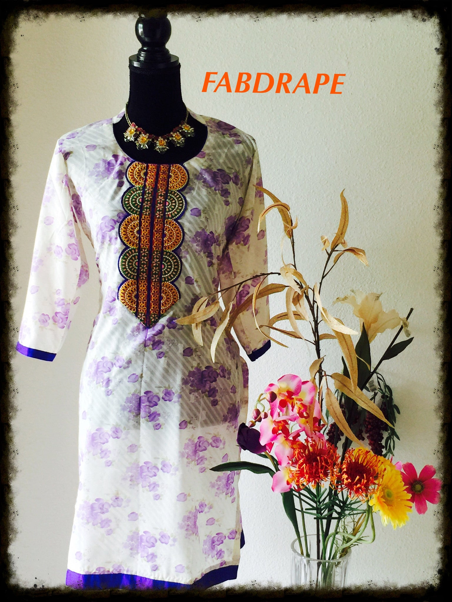 cotton kurti in white n purple #FDSKHPr 019