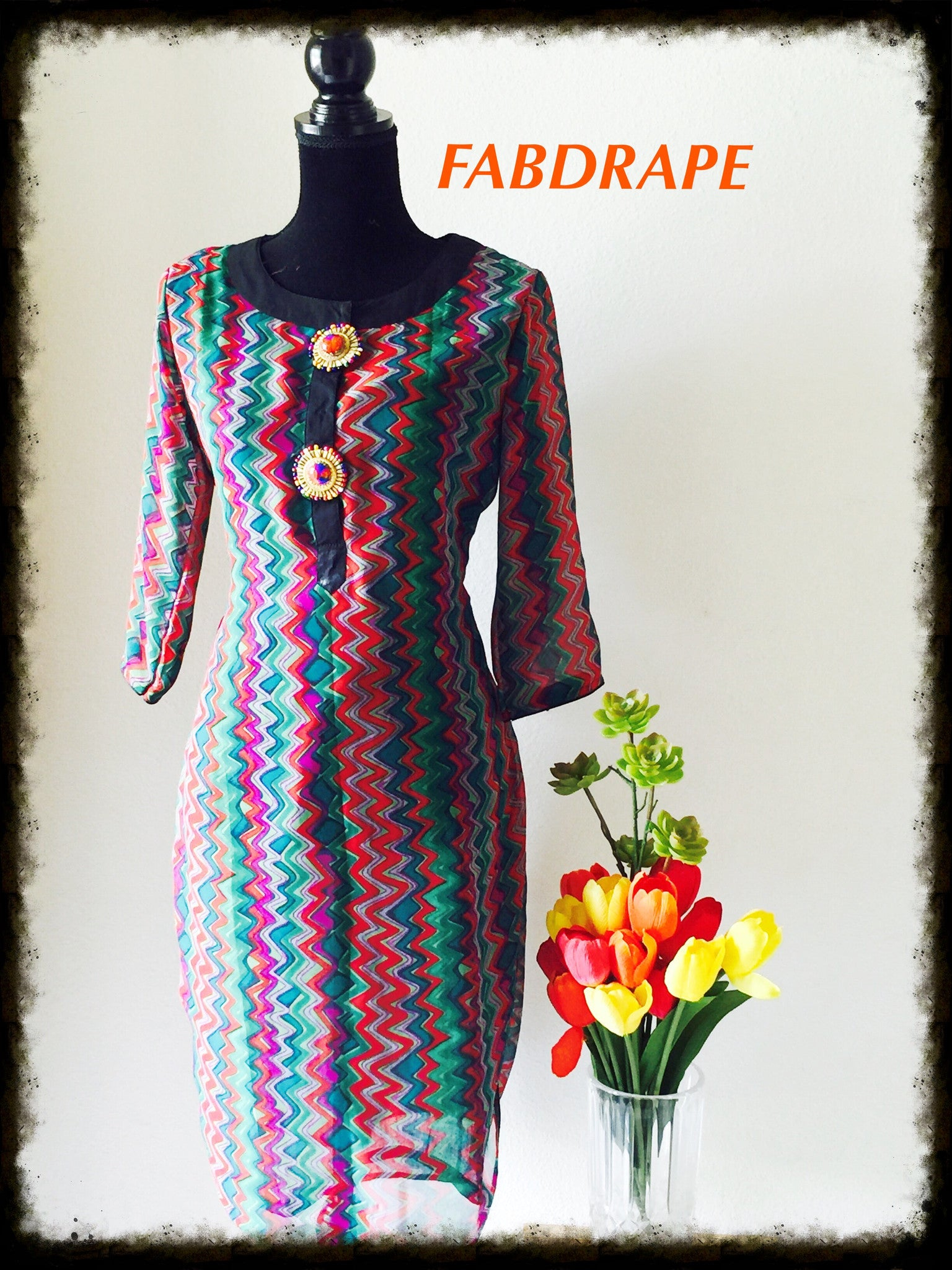 multicolor  zig zag print in Georgette #FDSKHPr 012
