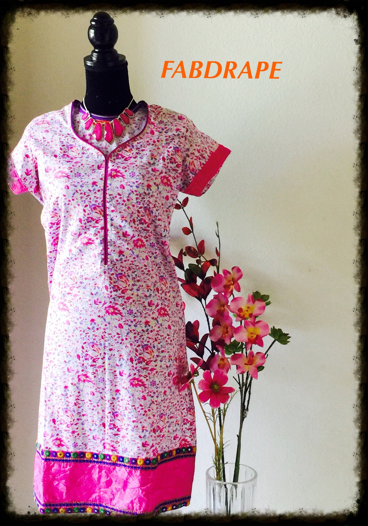 cotton kurti in pretty pink print #FDSKHPr 011