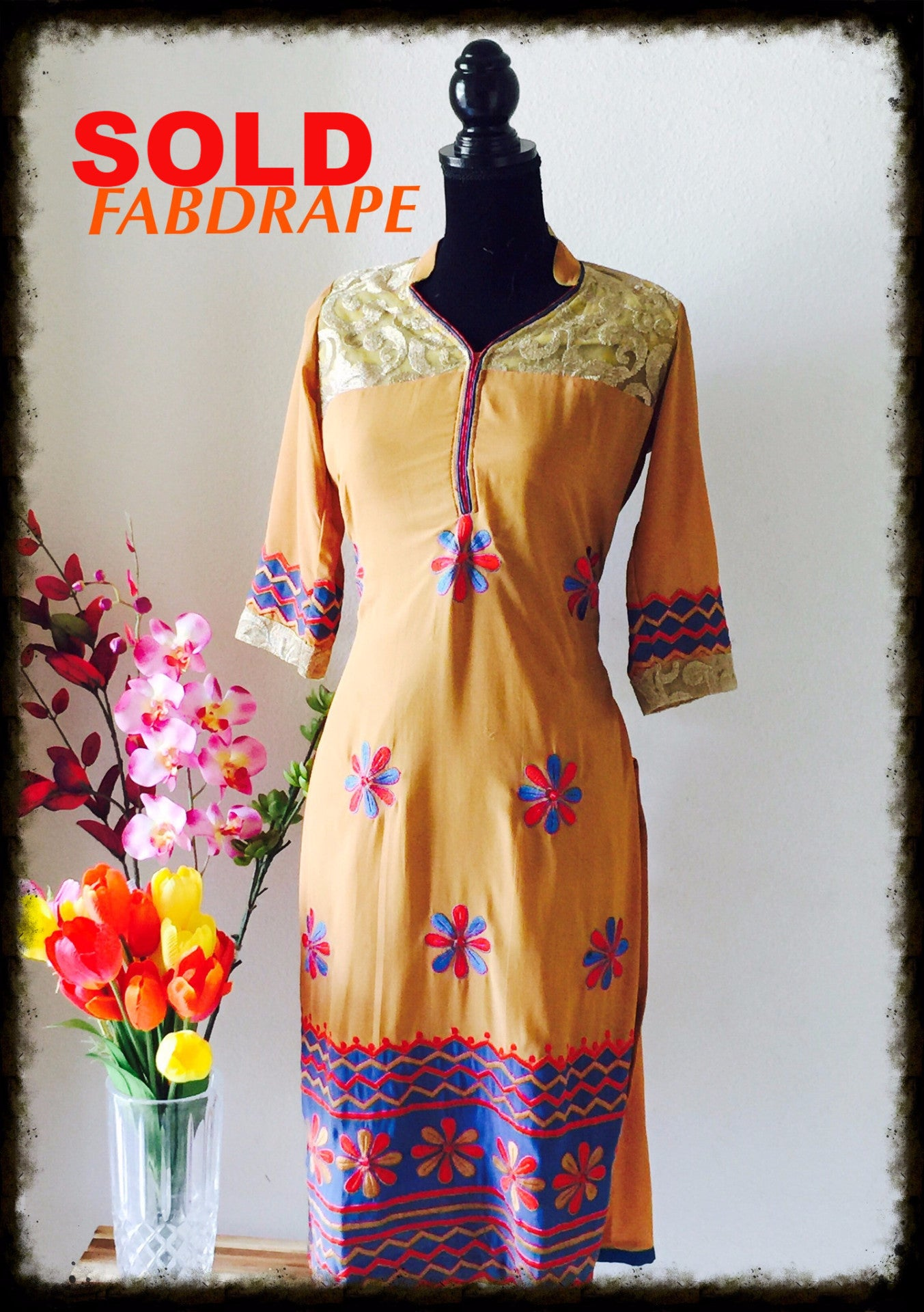 beige embroidered kurti #FDSKHPr 010