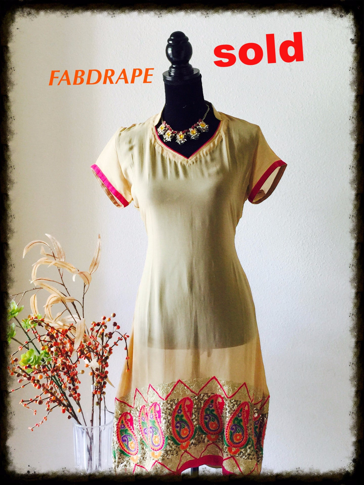 Beige color georgette kurti with emb pannel #FDSKHPr 07