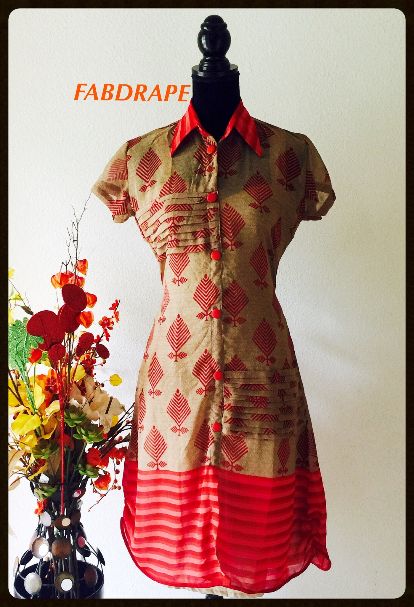 Georgette kurti in beige and red # FDSKHPr 03