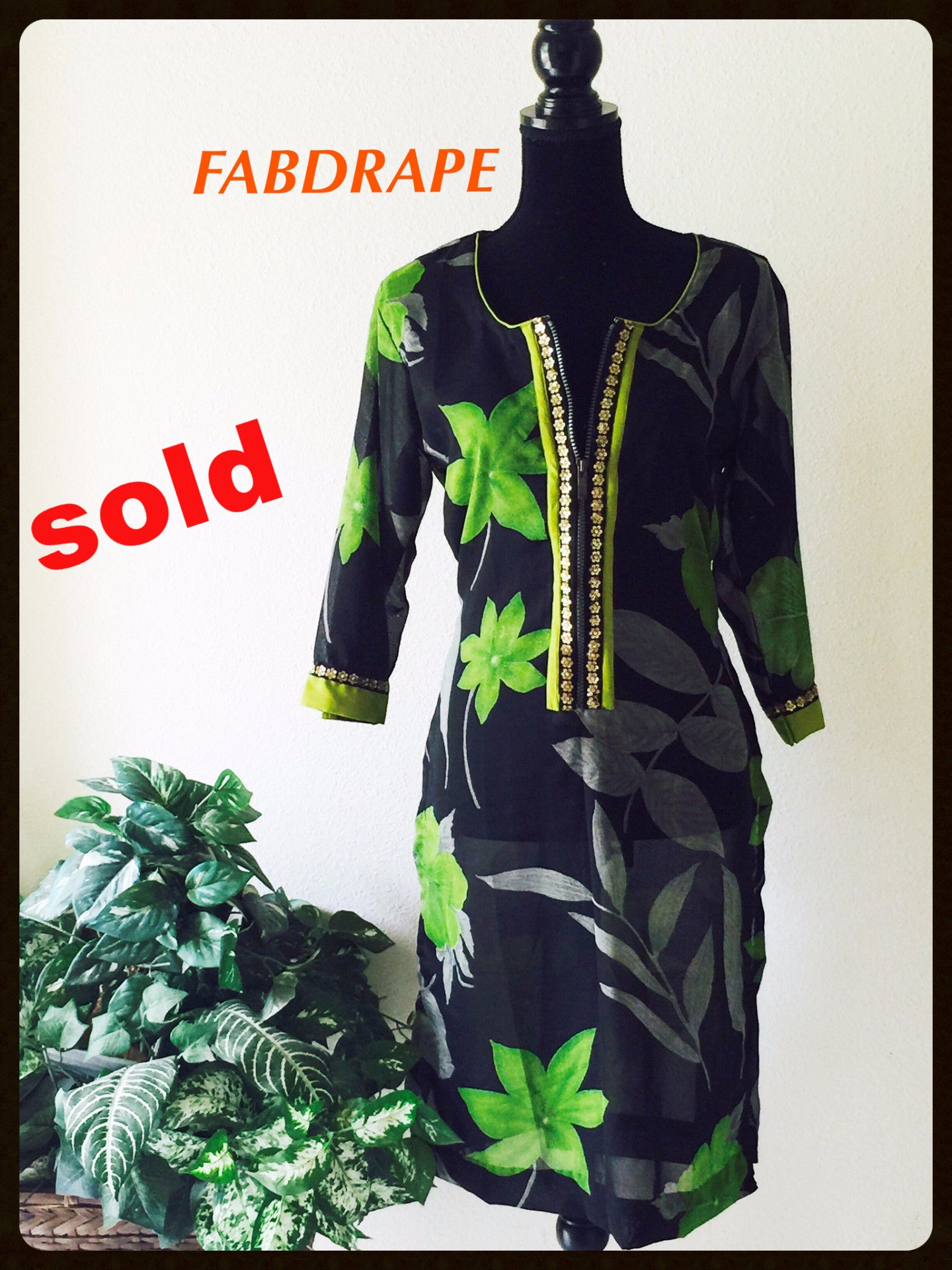 Georgette kurti in black and green # FDSKHPr 02