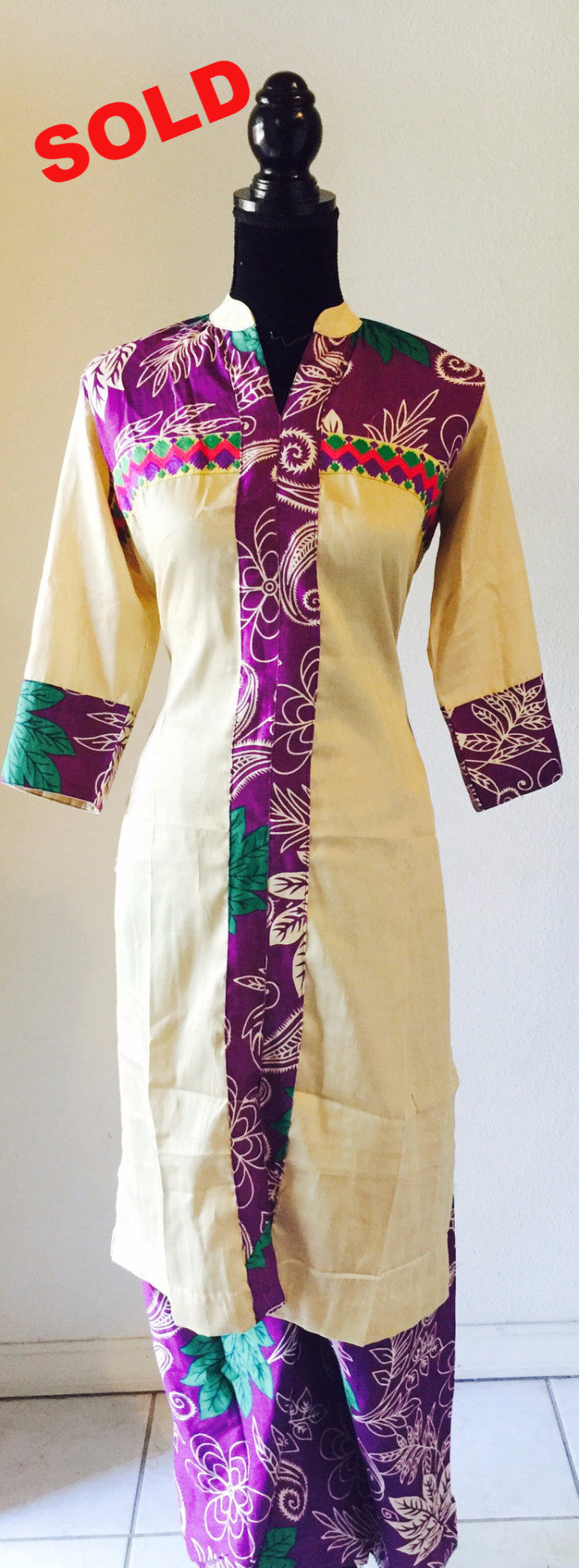 palazzo dress in printed cream and purple #FDSKHPR022