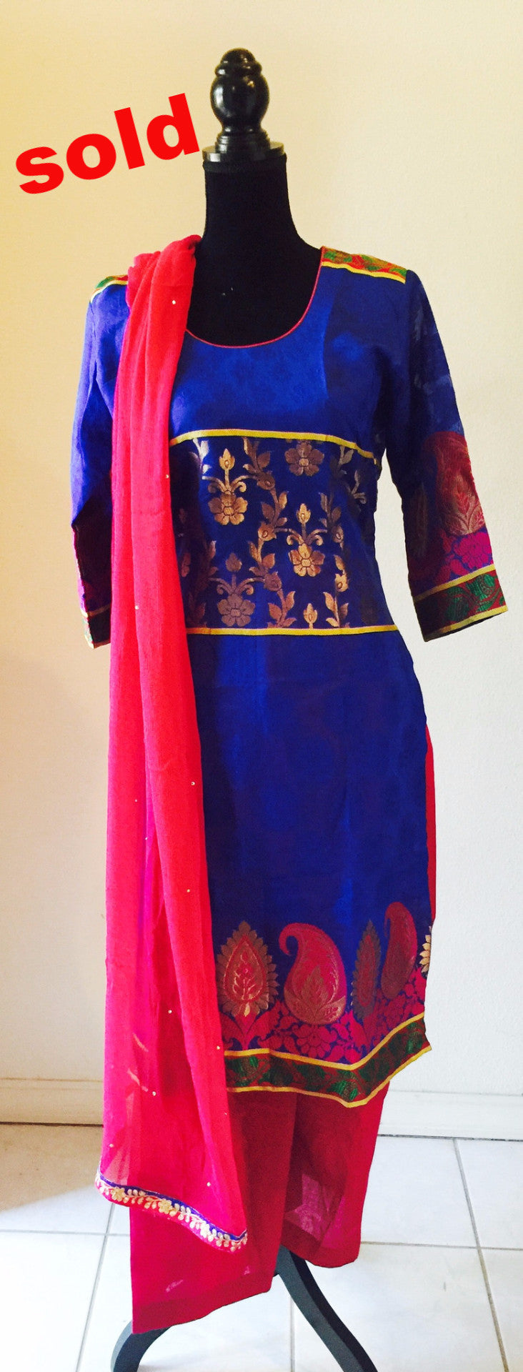 Royal blue and pink palazzo suit # FDJP009