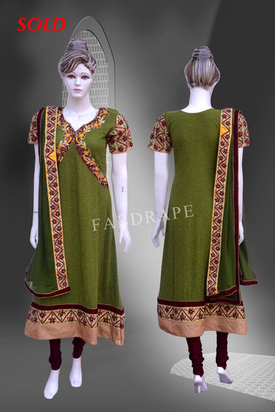 Green mustard Yellow embroidered Chikankari Suit #FDSKH0051_001