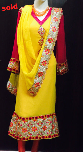 yellow embroidered suit #Fdn0033