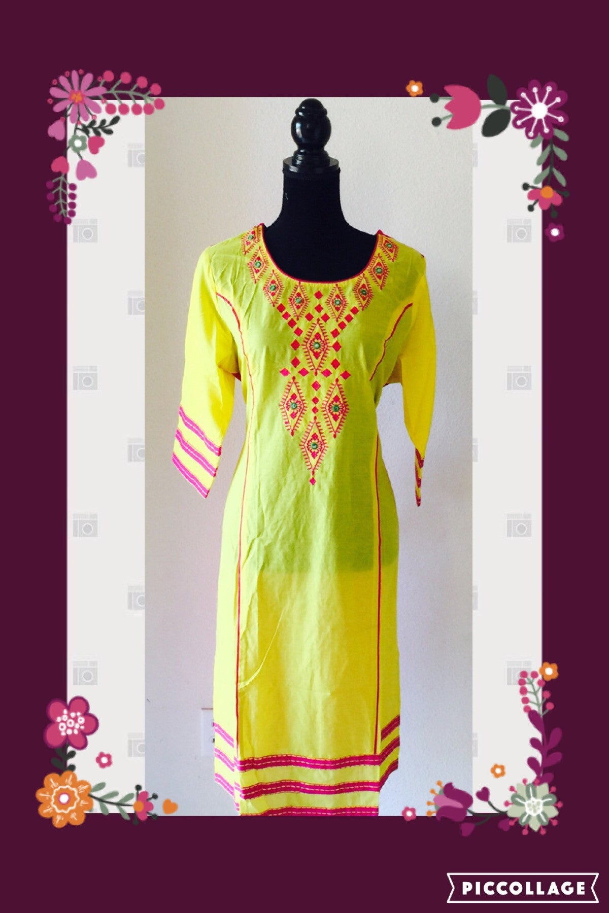 YELLOW KURTA WITH EMBROIDERY FDN0020