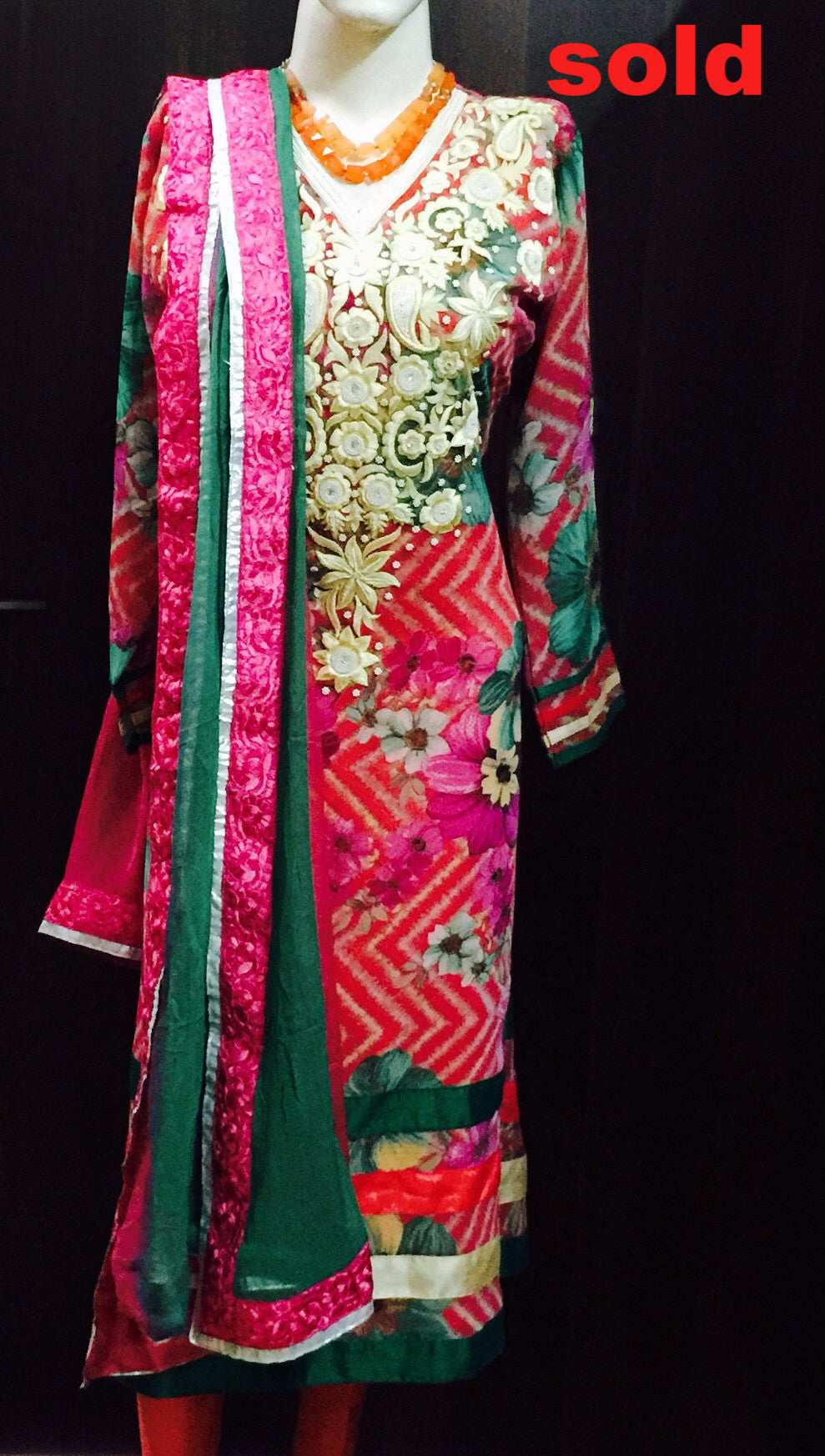 Beautiful embroidered suit on printed Georgette #Fdn0036