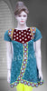 Greenish blue and crimson red color chickankari work embroidered short kurti #FDSKH0069_001