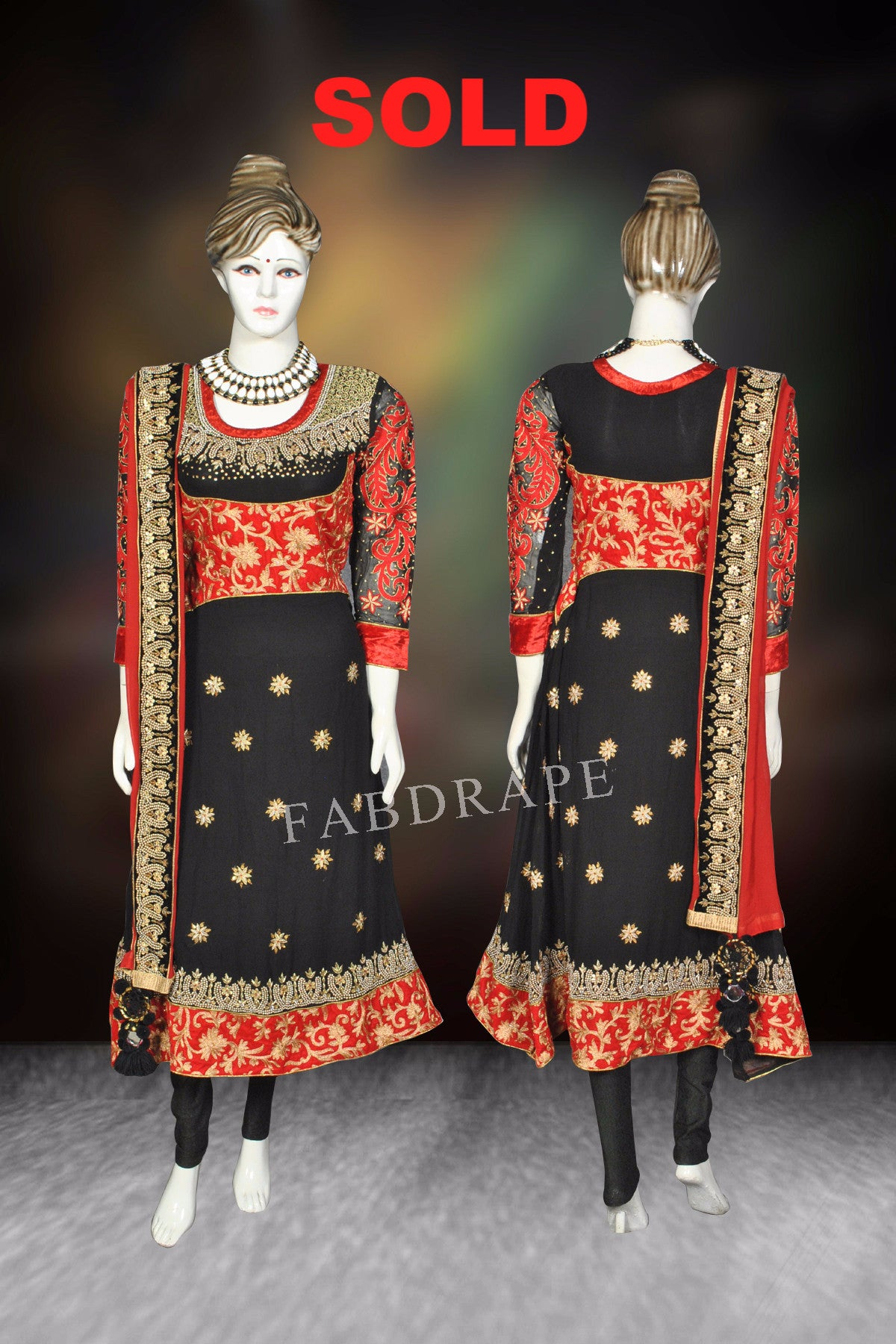 Red and black Embroidered Georgette Suit #FDSKH0032_001