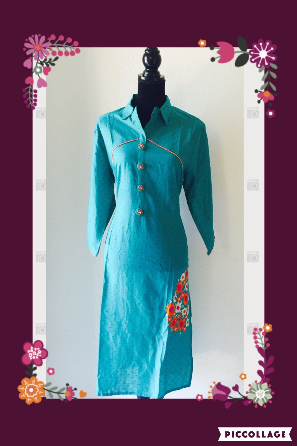 GREEN EMBROIDERED KURTA # FDN0025