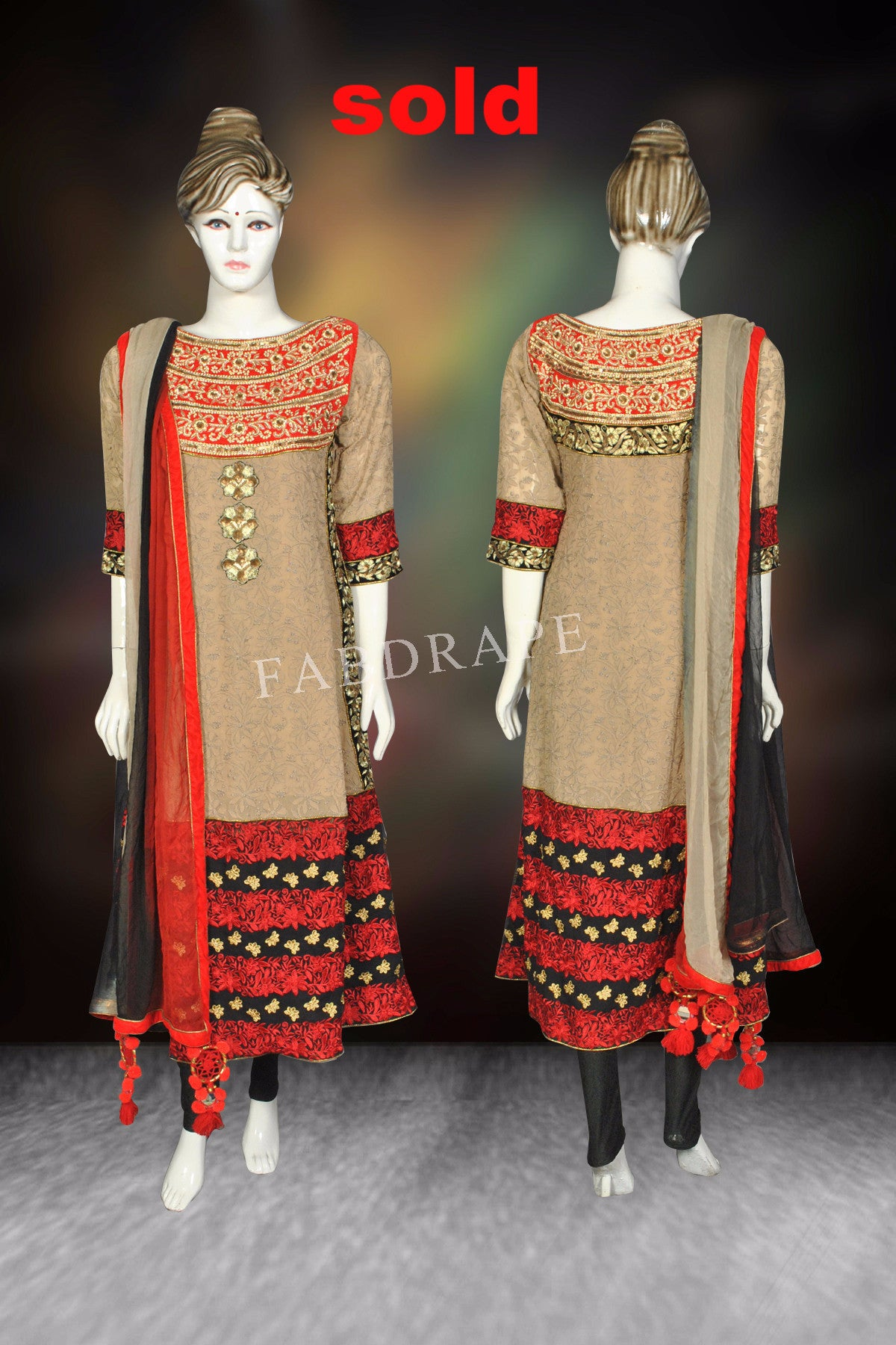 Light gold color chickankari embroidered suit #FDSKH0060_001