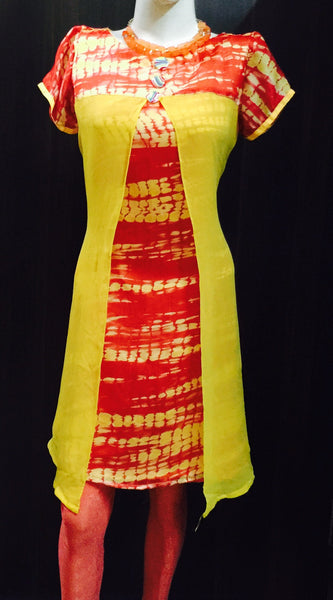 A TIE DYE KURTA IN RED AND YELLOW #Fdn0043