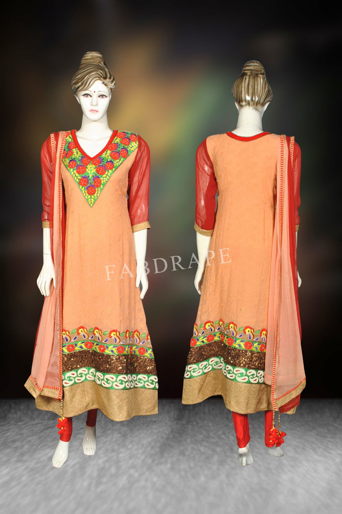 Beige and olive Green hand embroidered Chikankari Suit #FDSKH0049_001