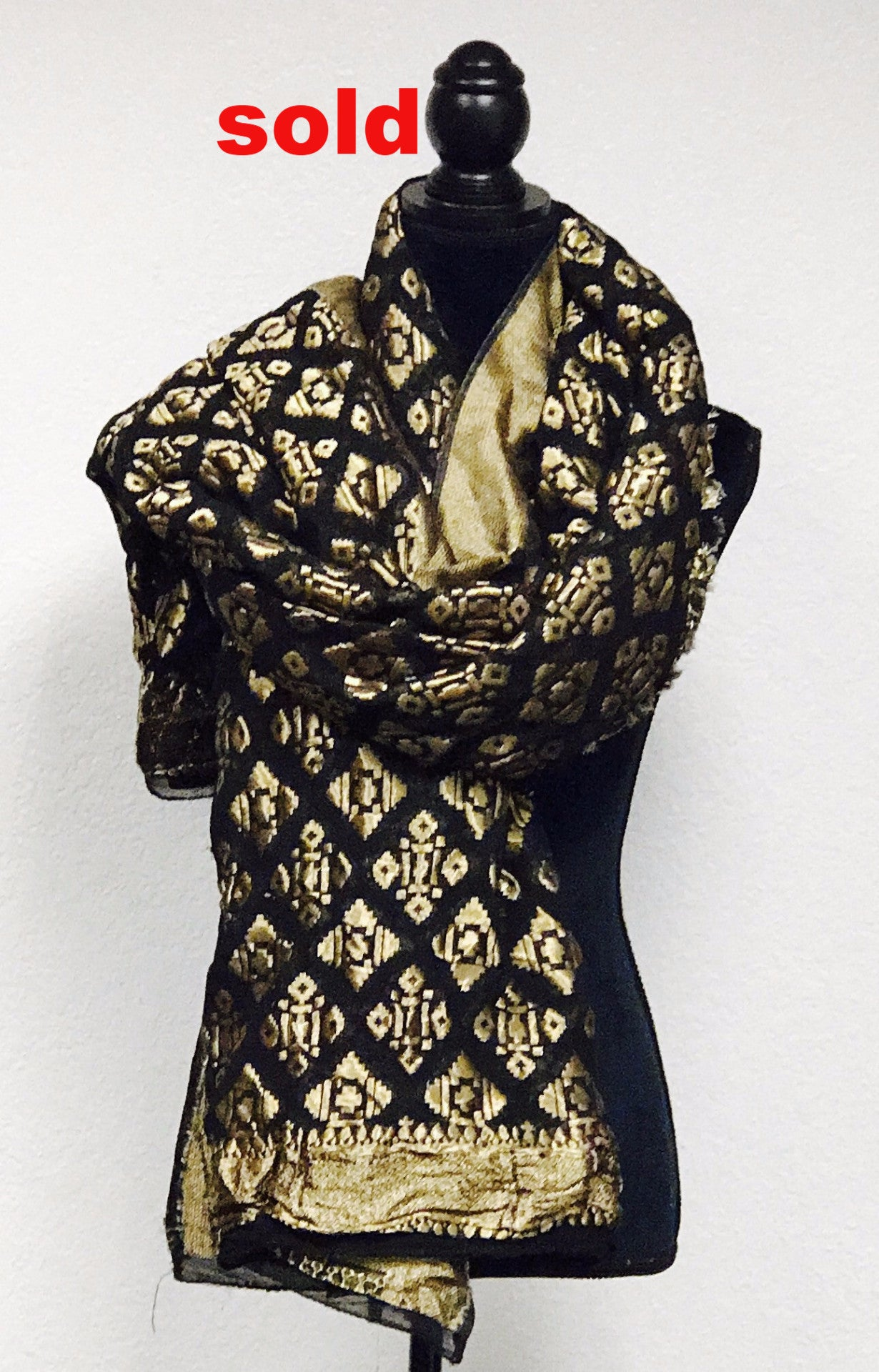 Black brocade embroidered stole # fdn0276