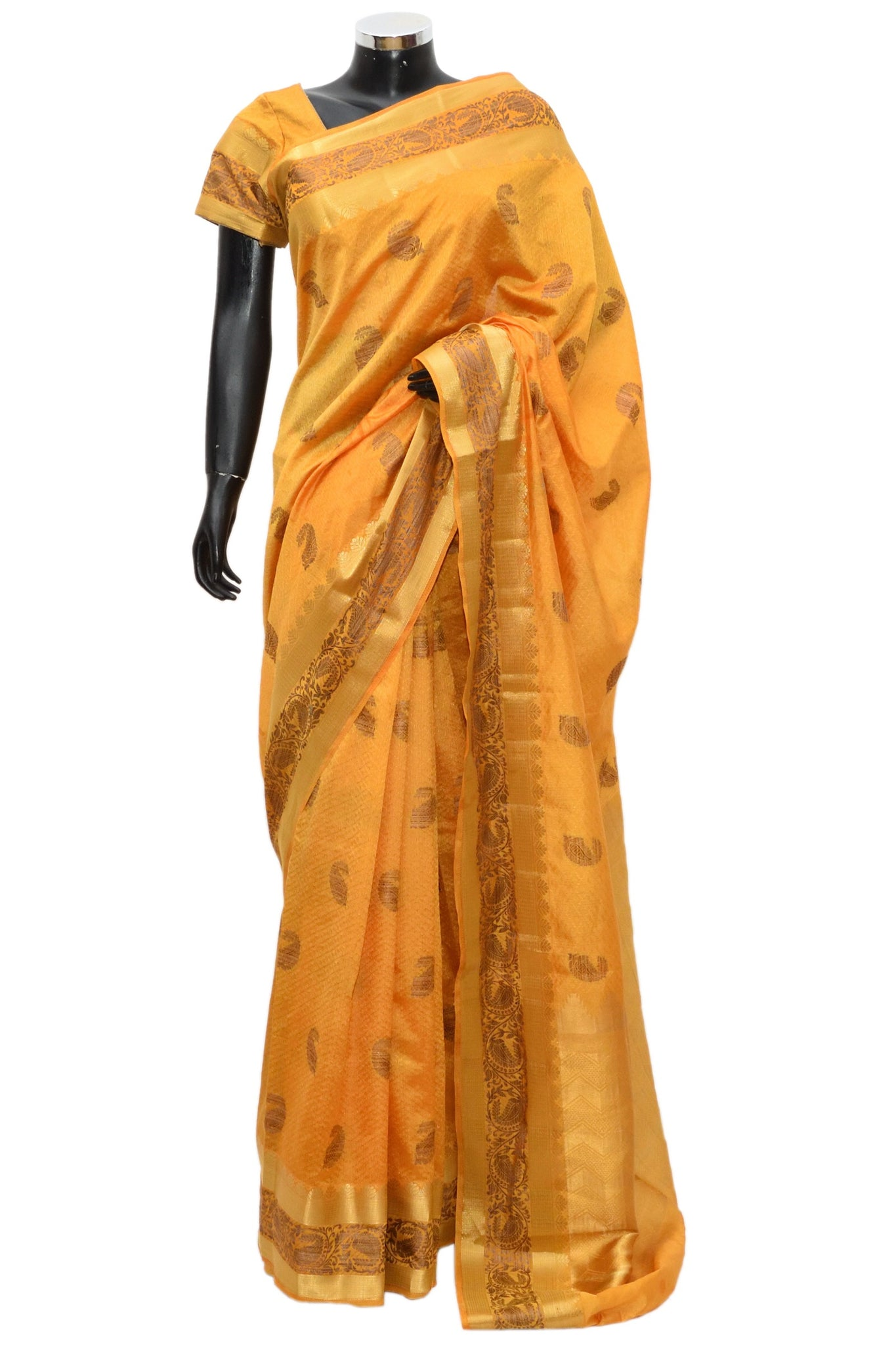 Silk saree in mustard color fdn899-321