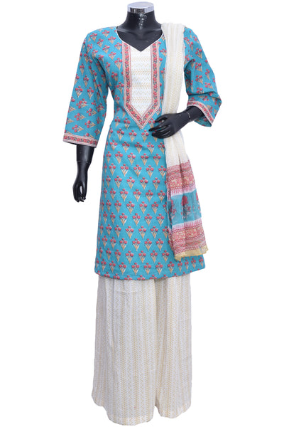 Cotton suit  with palazzo #fdn901192-201
