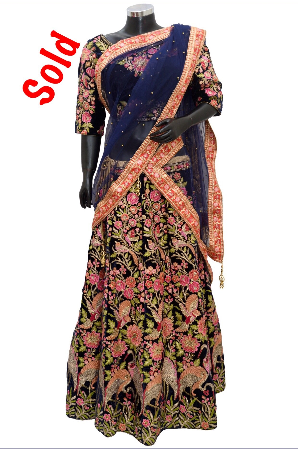 Beautiful velvet embroidered lengha full setfdn1464-431