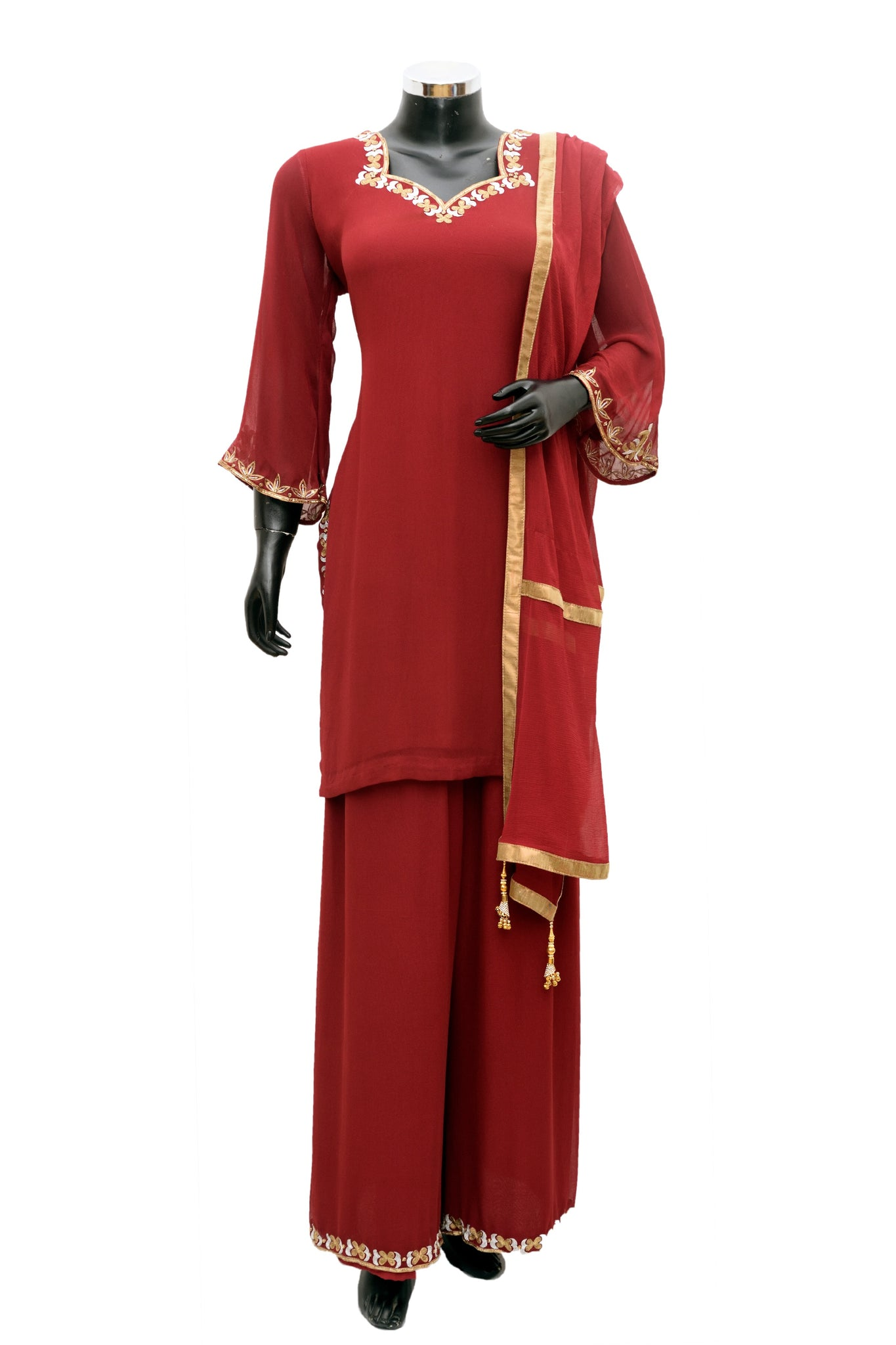 Red color embroidered palazo set #fdn776-481