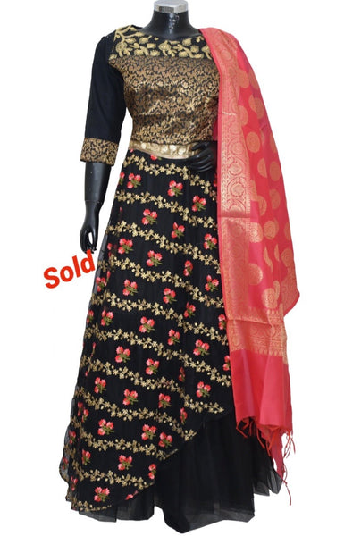 Embroidered banarsi lengha #fdn901156-701